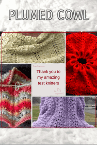 A collage of test knitter's lace Plumed Cowl.