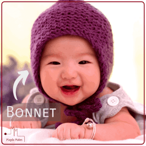 child wearing a bonnet