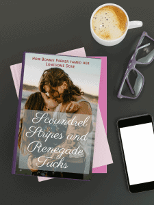 Fake romance novel with glasses and a cup of coffee.