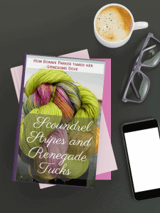Mock up of a yarn romance novel with coffee and readign glasses.