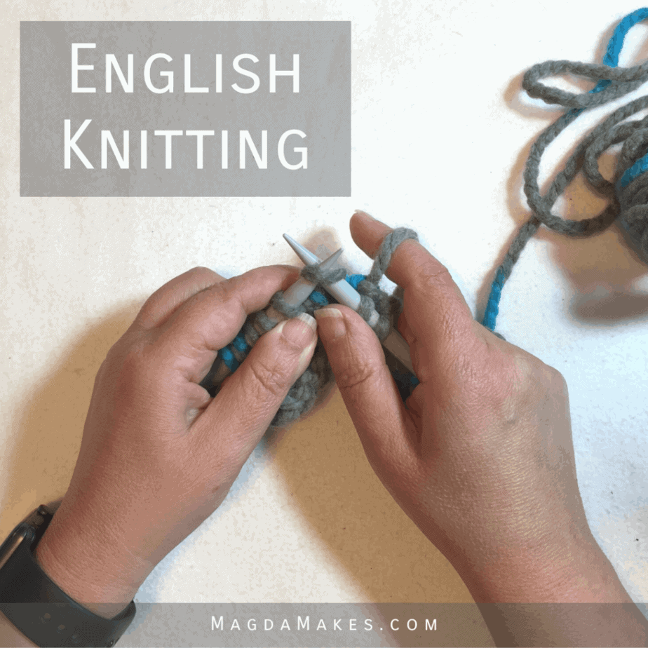 hands doing English style knit stitch