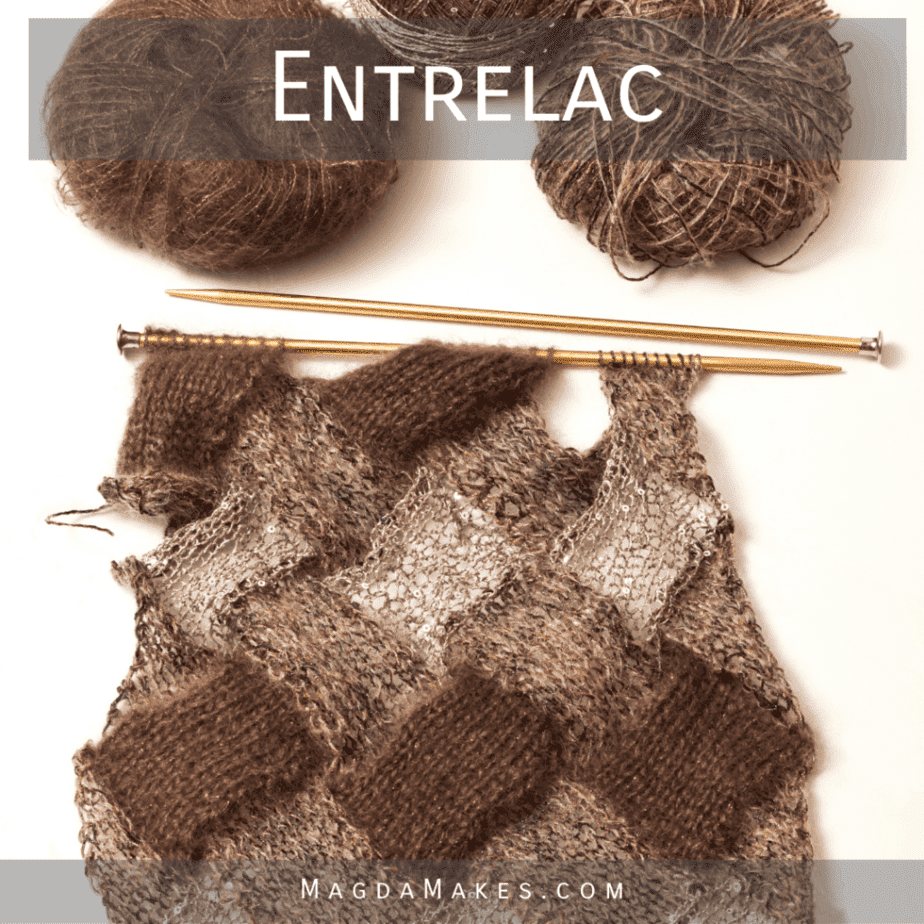 brown toned entrelac knitting on white background