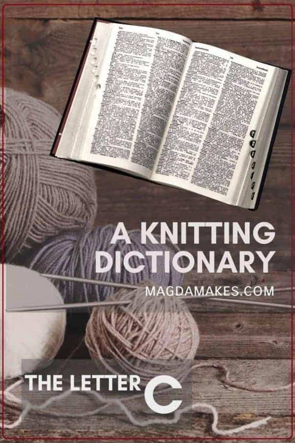 "Words ""A Knitting Dictionary the letter C"" with an open dictionary and balls of yarn"