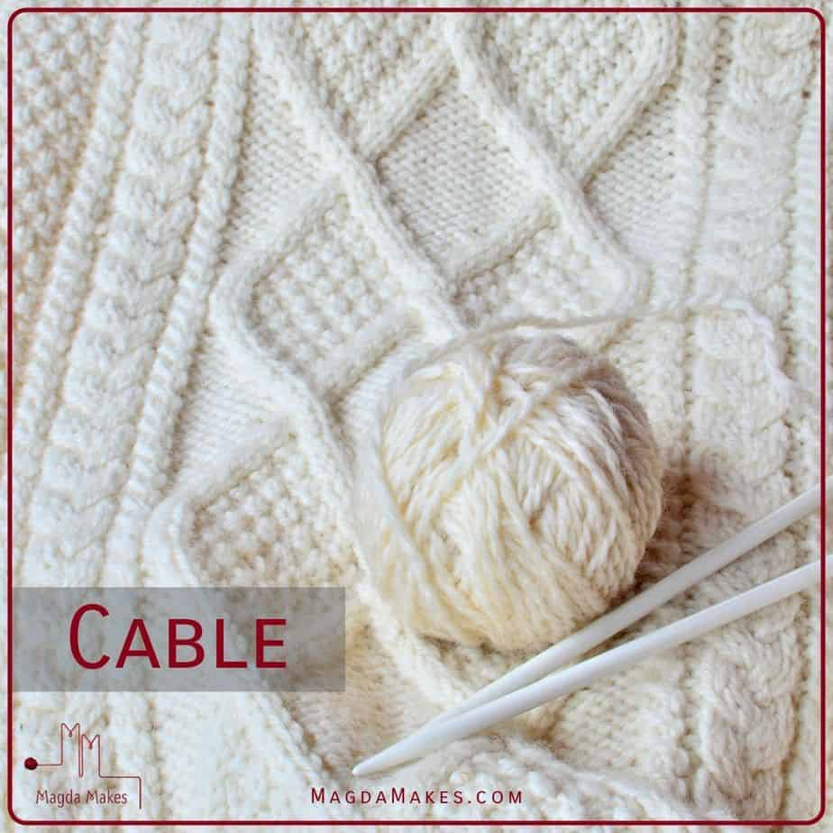 Knitting with cables for A Knitting Dictionary the letter C