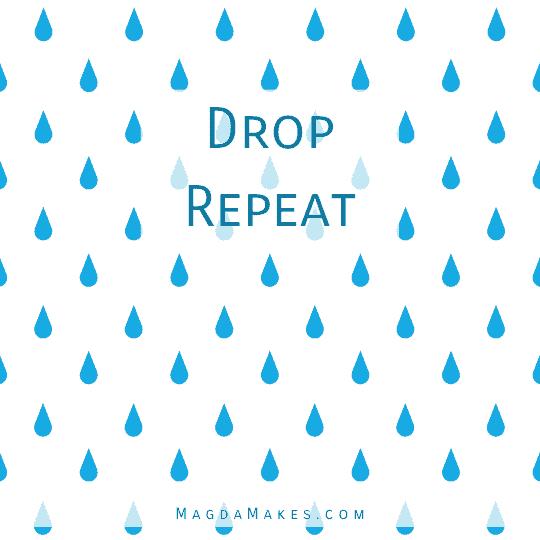 rain drop icons arranged in a drop repeat