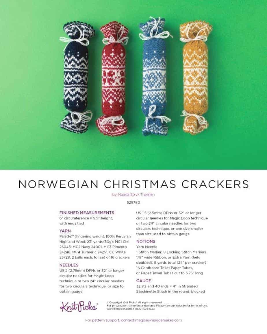 Knitted Norwegian Chrsitmas Crackers on green background