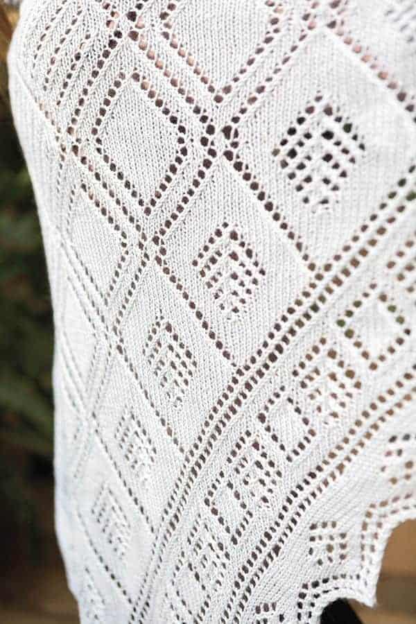 Close up of knit lace Shetland Mosaic Shawl