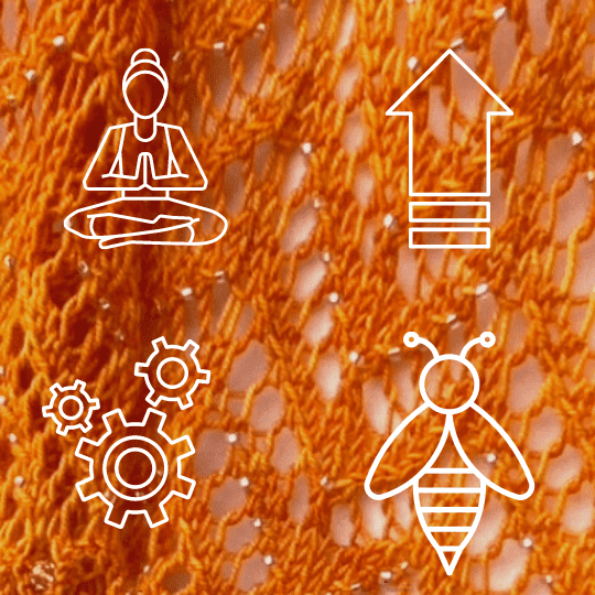 line drawings of a meditation pose, up arrow, three gears and a bee on a knitted background