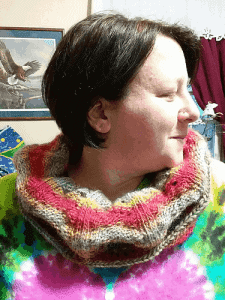 Woman wearing colourful knitted lace