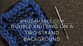 Double knitting on a two strand background